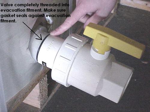 White valve installed ready to evacuate